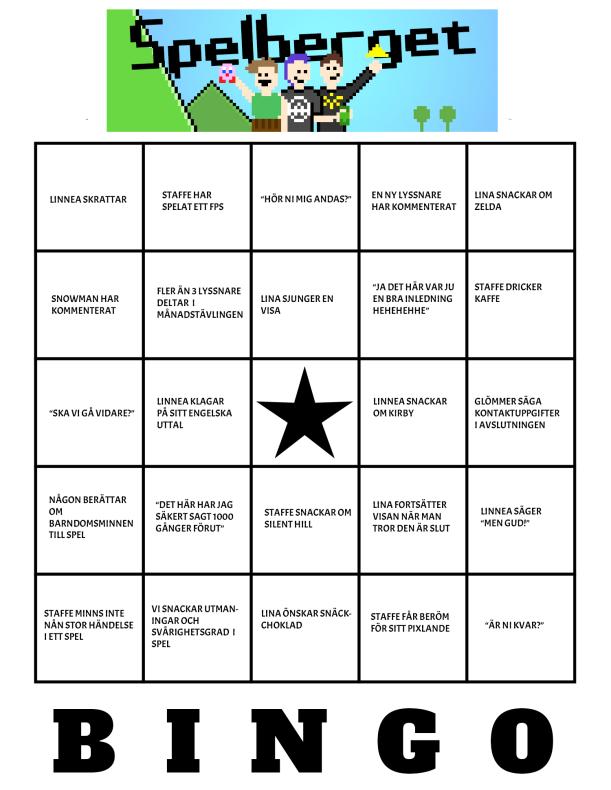 Spelberget-bingo